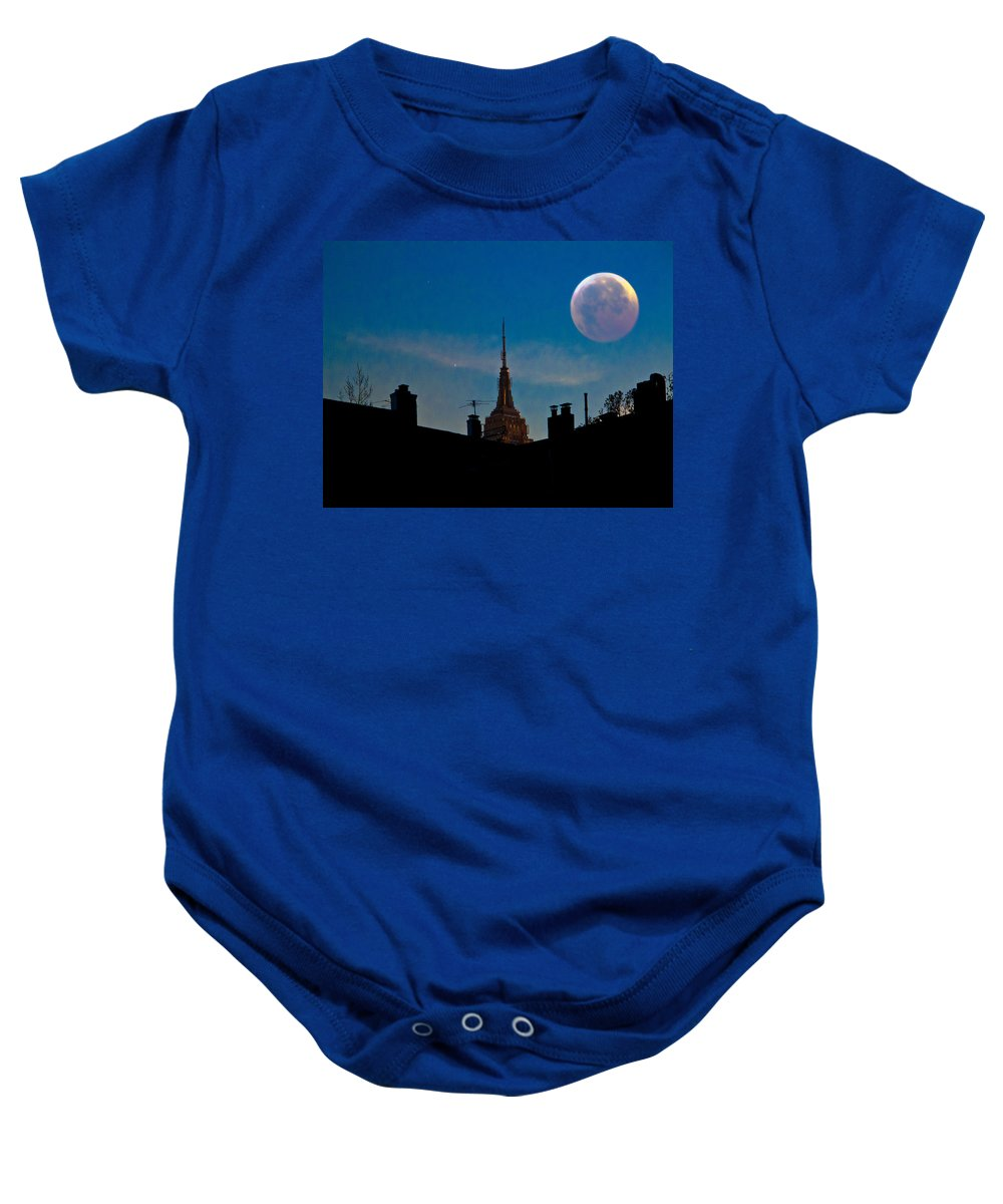 New York Baby Onesie featuring the photograph Twilight Time In The City by Chris Lord