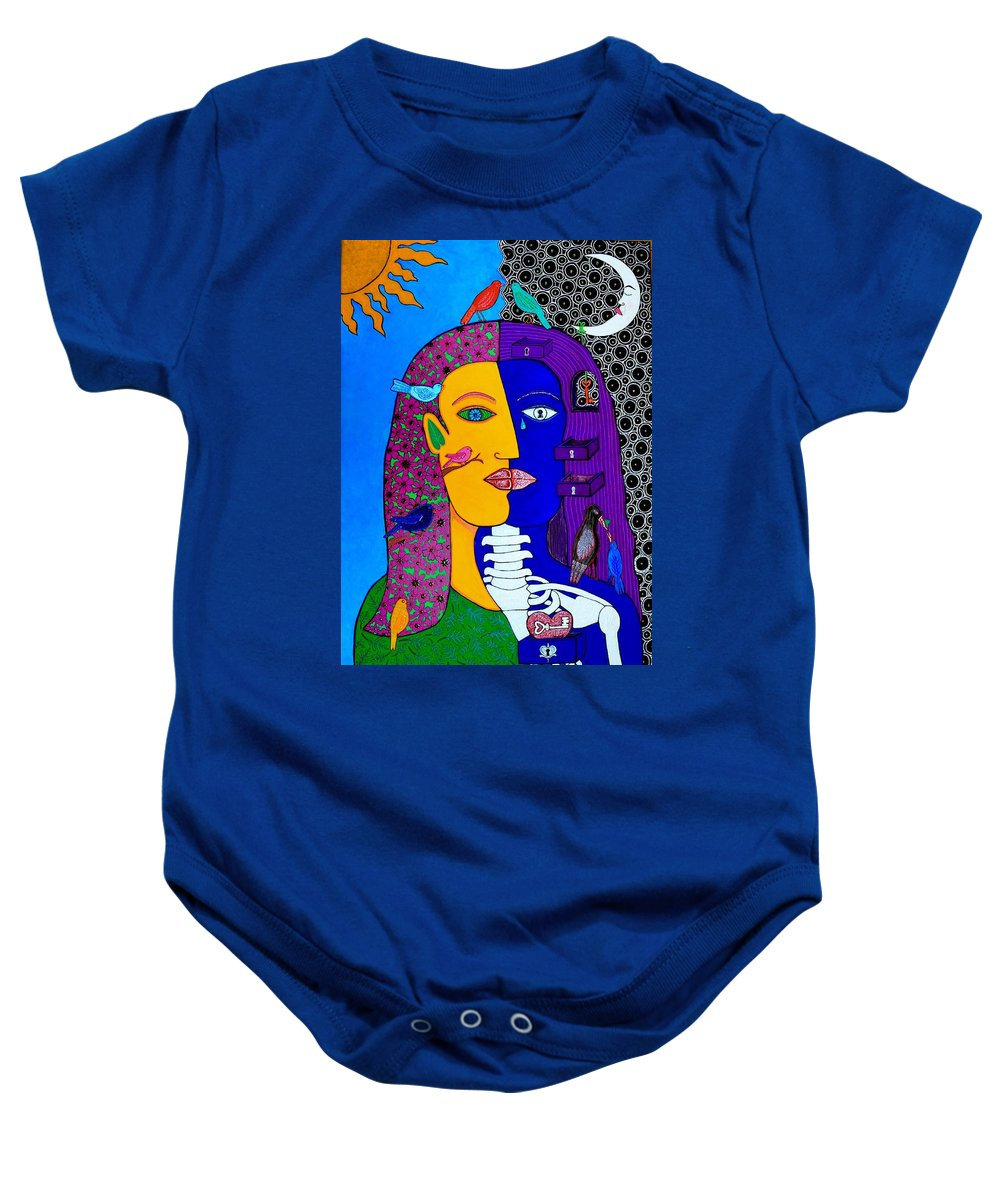 Faces Baby Onesie featuring the painting Two Faces by YOLARTE Yolanda Ortiz