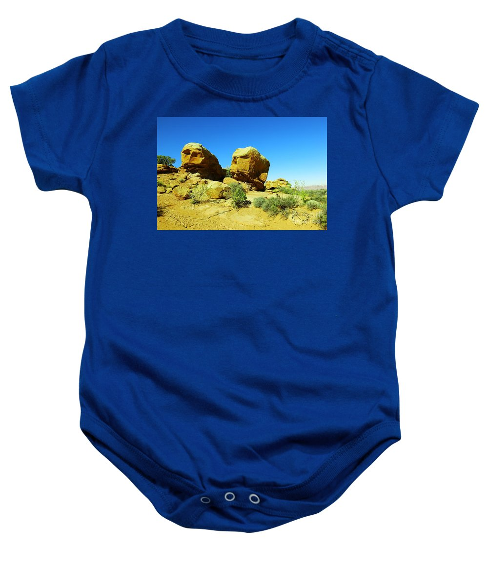 Rocks Baby Onesie featuring the photograph Two Orange Rocks by Jeff Swan