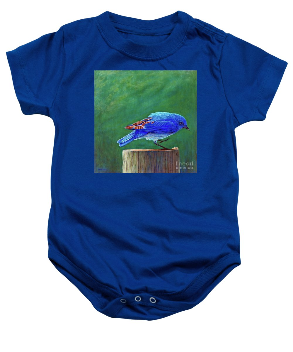 Bluebird Baby Onesie featuring the painting Two Step by Brian Commerford