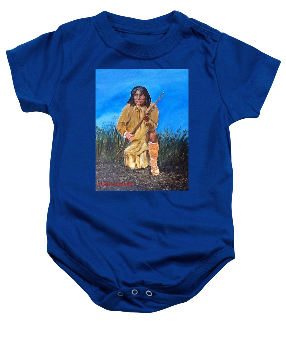 Native Americans Chiefs Baby Onesie featuring the painting Geronimo by Catherine Swerediuk