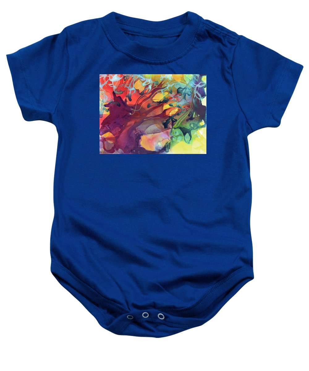 Abstract Baby Onesie featuring the painting Uncontrolled by Darcy Lee Saxton