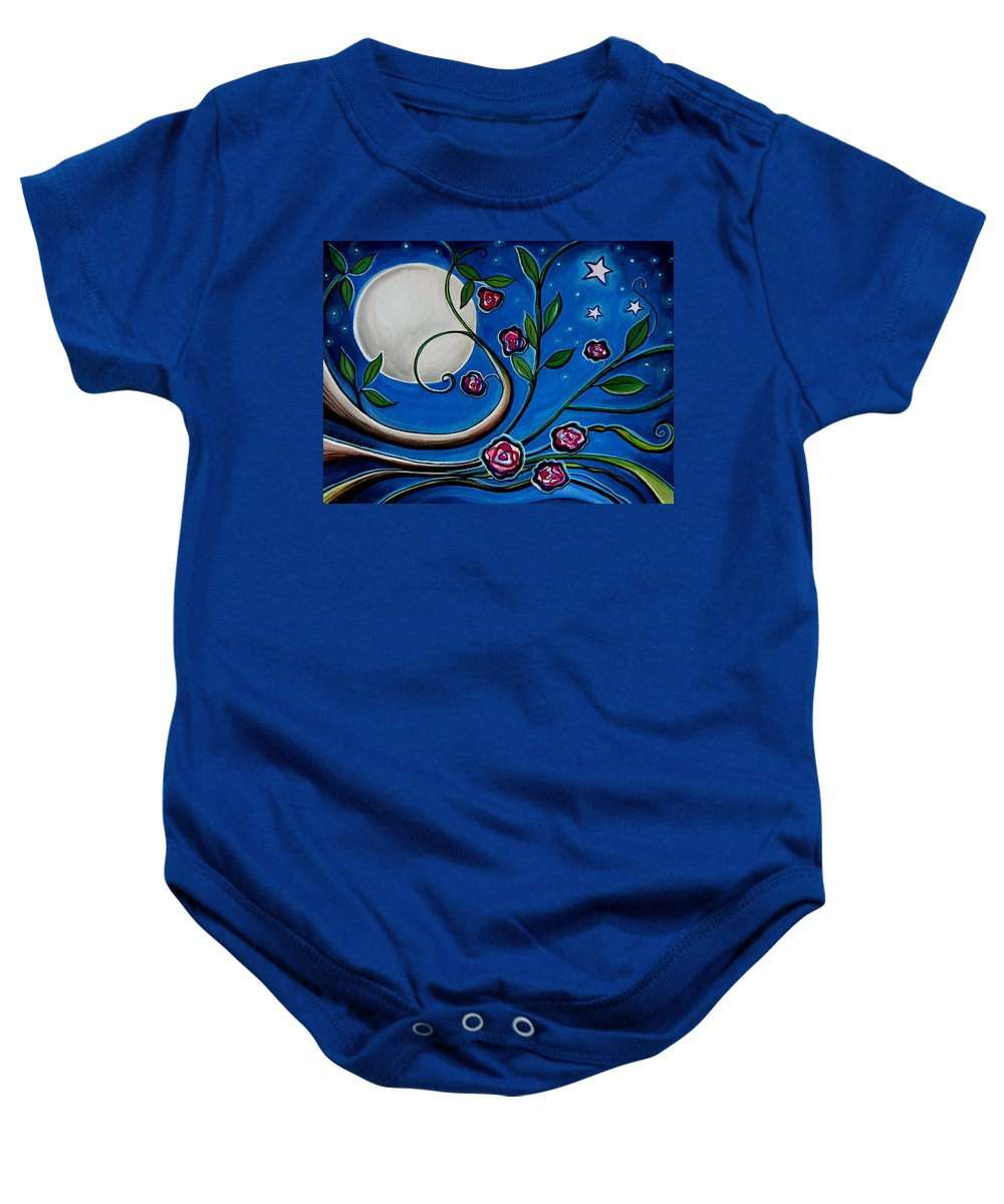 Flowers Baby Onesie featuring the painting Under The Glowing Moon by Elizabeth Robinette Tyndall