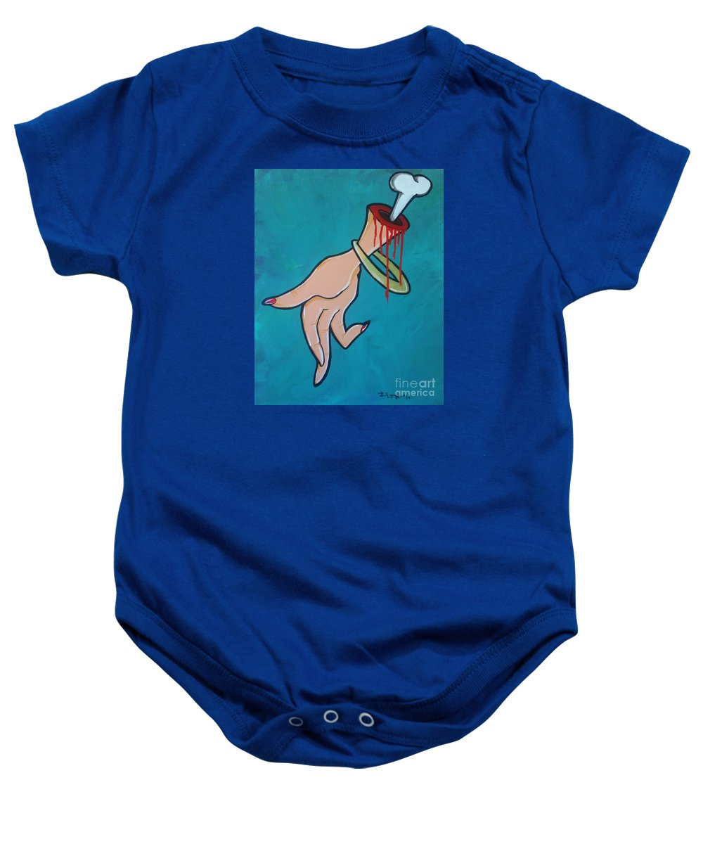 Hand Baby Onesie featuring the painting Understanding by Phillip Johnson