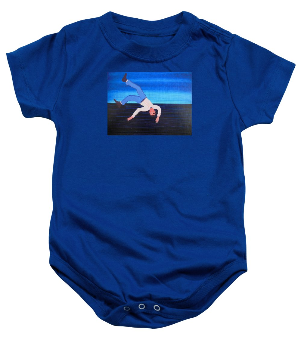 Humor Baby Onesie featuring the painting Unexpected Drop In by Bonita Barlow