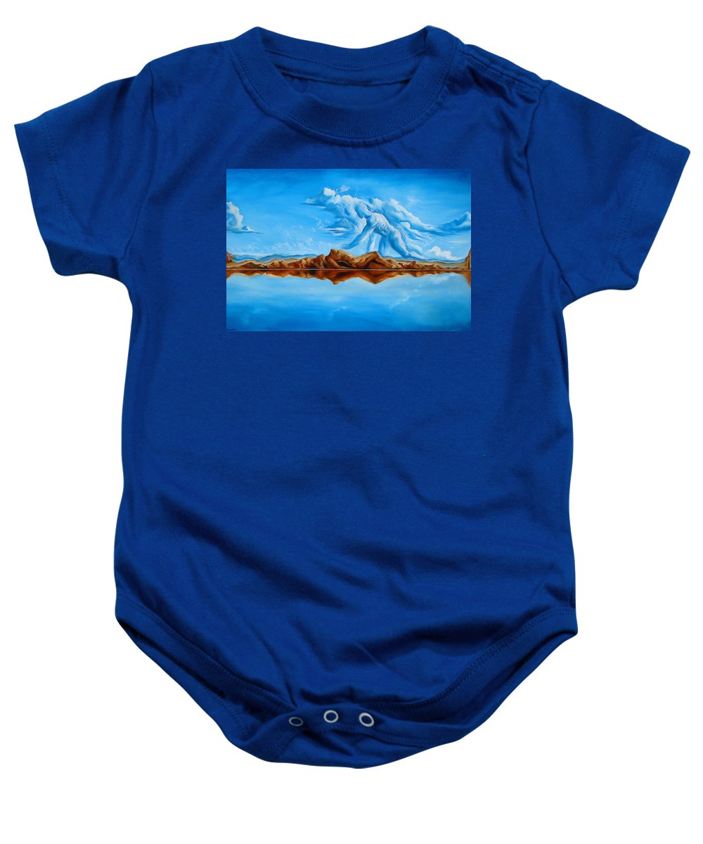 Surrealism Baby Onesie featuring the painting Unfinished Business by Darwin Leon