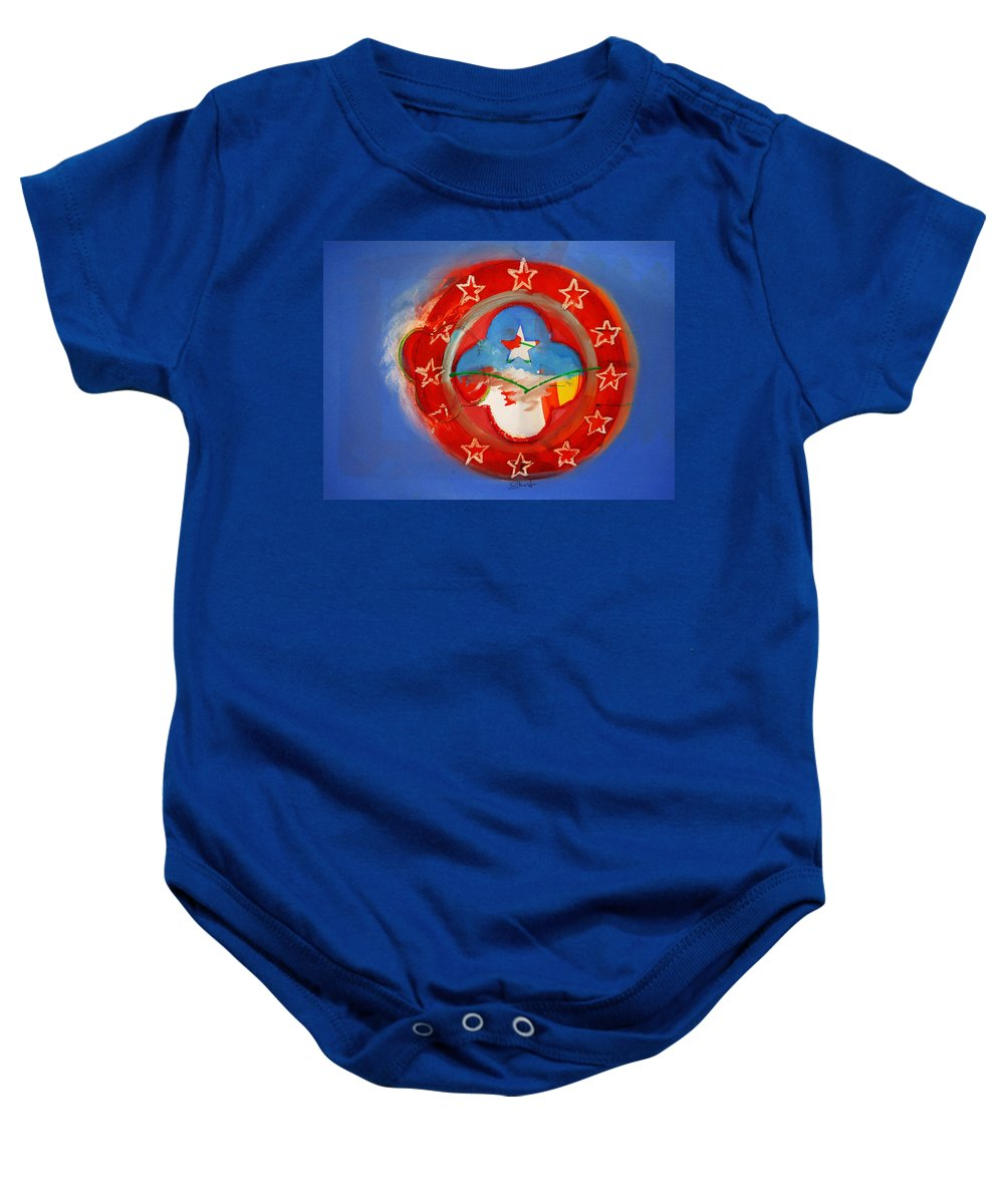 Symbol Baby Onesie featuring the painting Union Blue by Charles Stuart