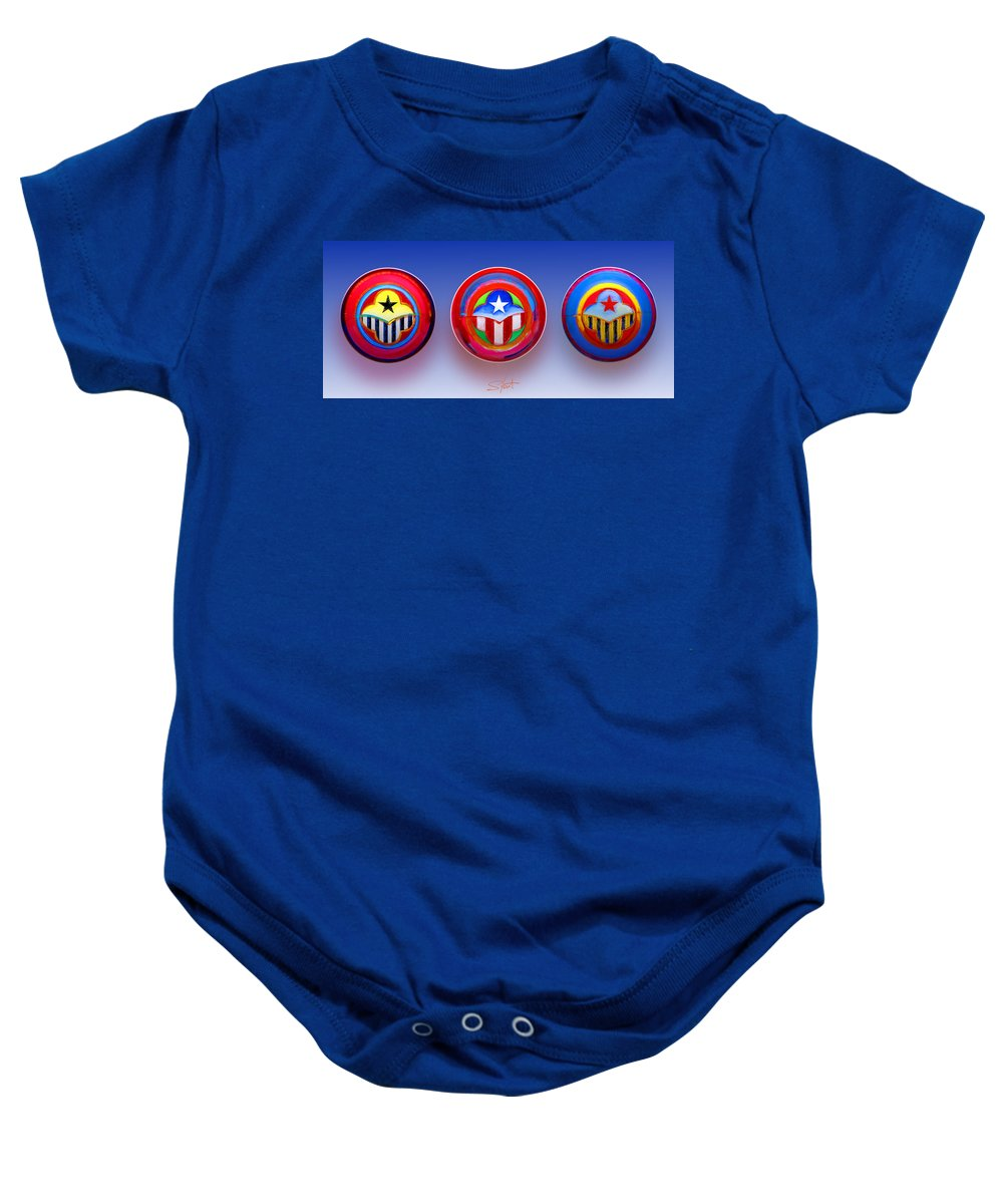 Trinity Baby Onesie featuring the painting Unity In Diversity by Charles Stuart