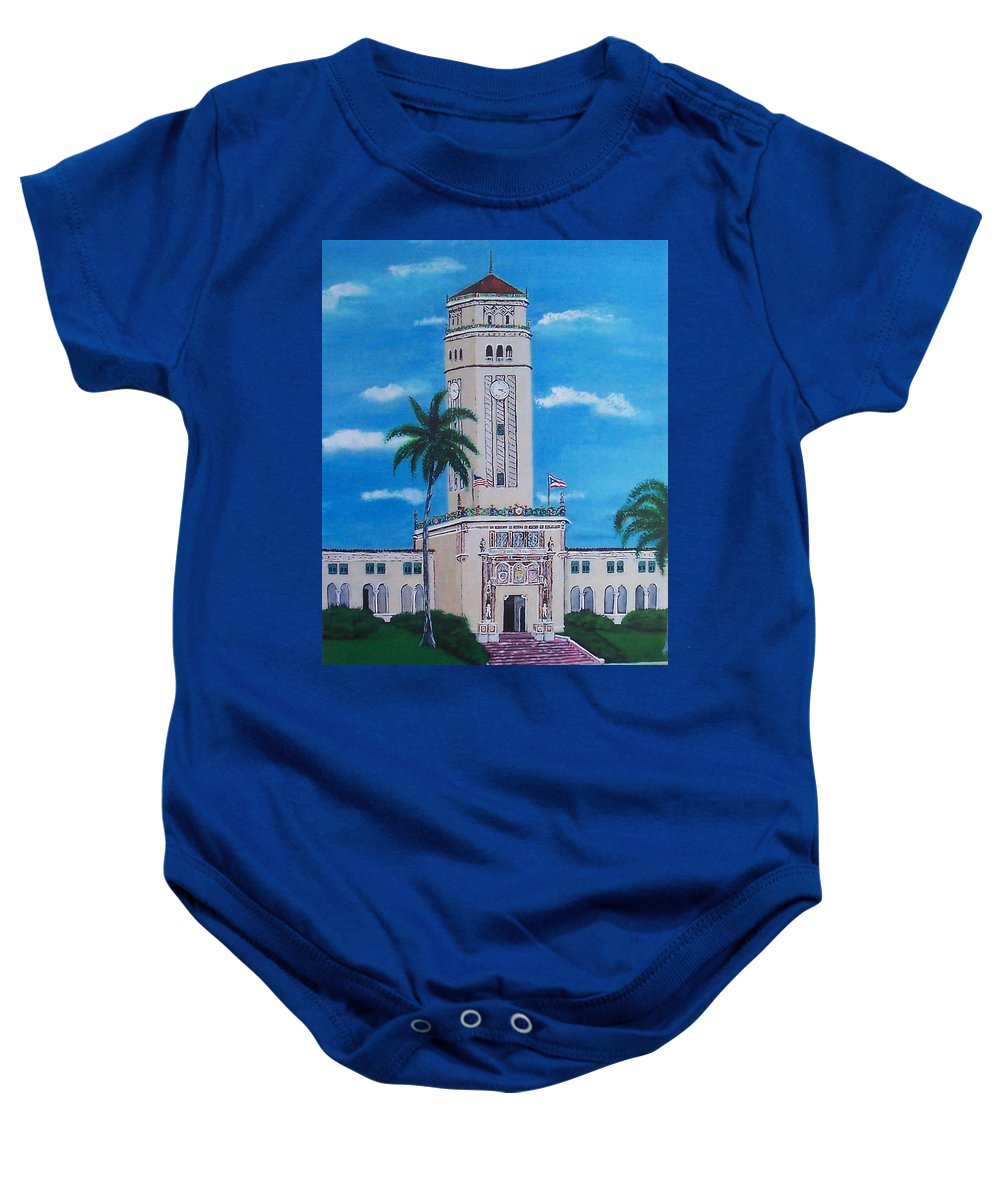 Rio Piedras Baby Onesie featuring the painting University Of Puerto Rico Tower by Luis F Rodriguez