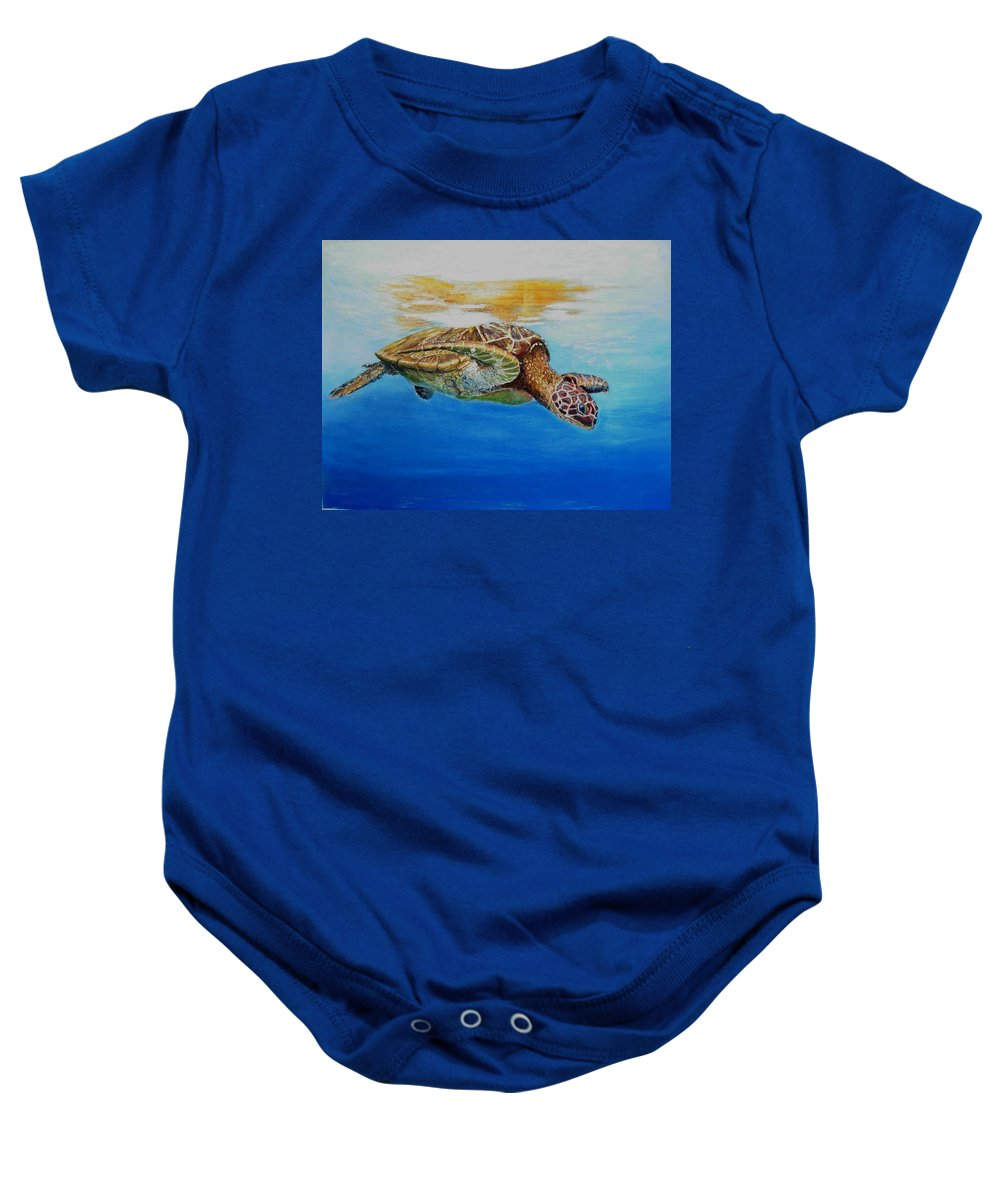 Wildlife Baby Onesie featuring the painting Up For Some Rays by Ceci Watson