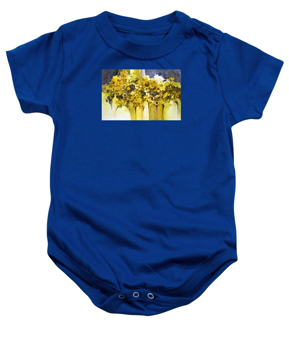 Yellow Flowers;sunflowers;vases;floral;contemporary Floral; Baby Onesie featuring the painting Vases Full of Blooms  by Lois Mountz
