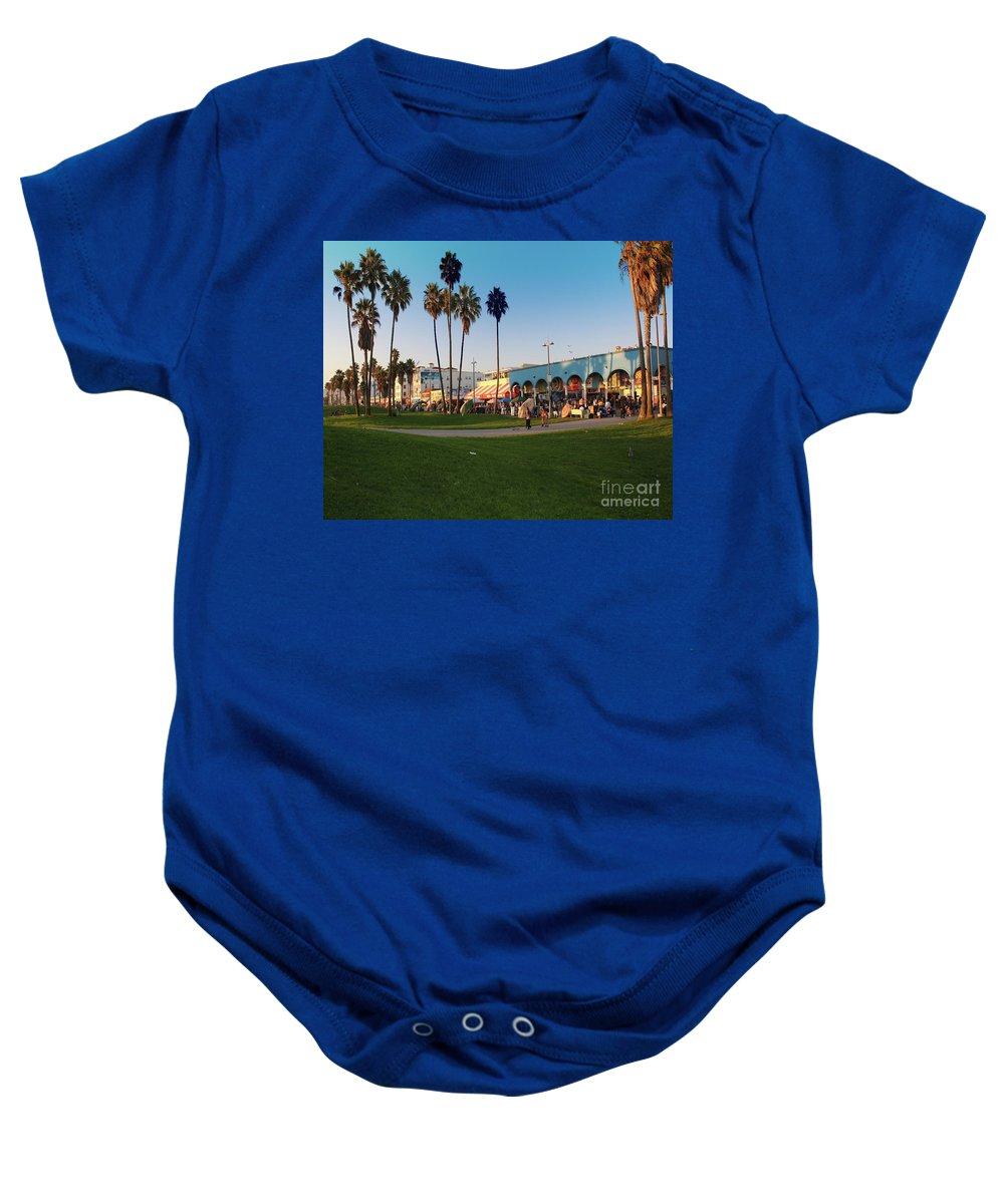 Venice Beach Baby Onesie featuring the photograph Venice Beach by Kelly Holm