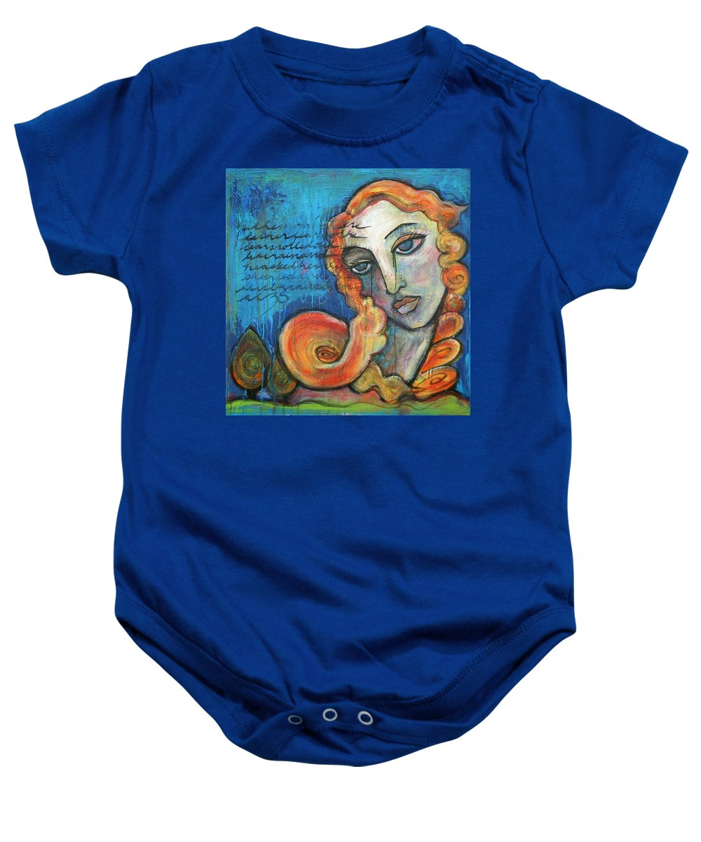 Venus Baby Onesie featuring the painting Venus Lets Go by Laurie Maves ART
