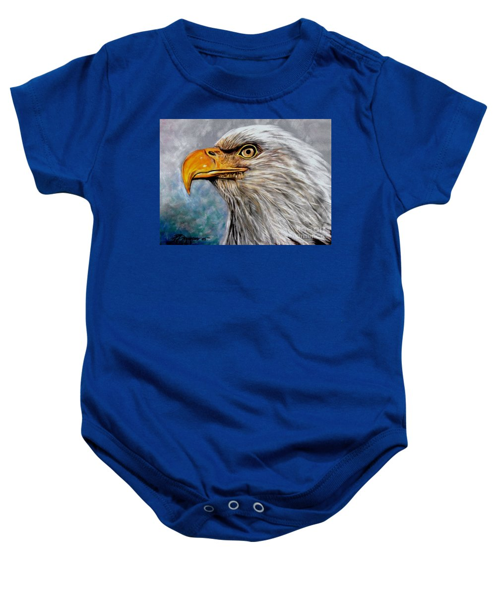 Eagle Baby Onesie featuring the painting Vigilant Eagle by Patricia L Davidson