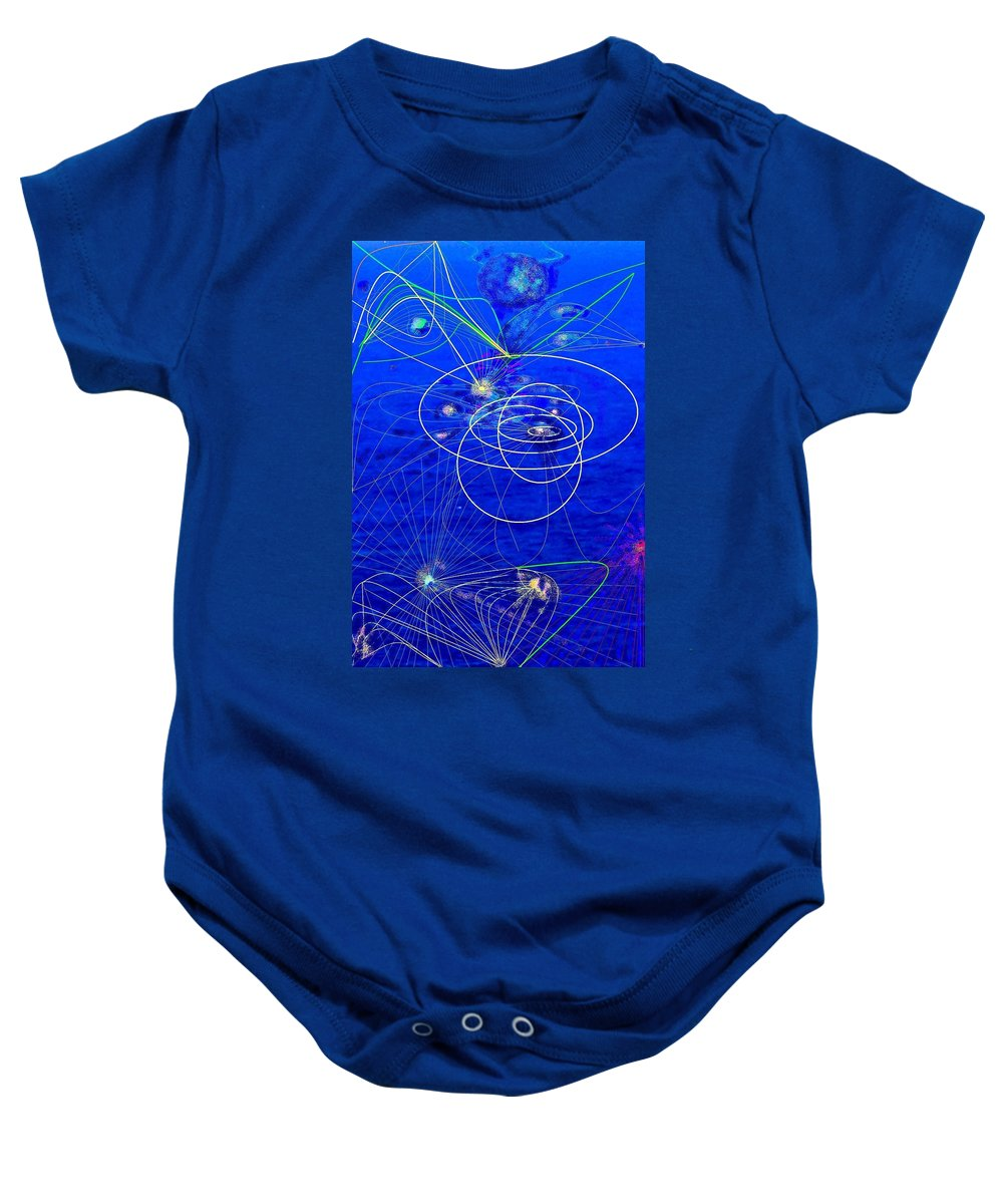 Abstract Baby Onesie featuring the digital art Voyage by Ian MacDonald
