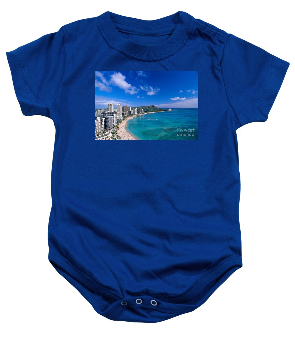 Aerial Baby Onesie featuring the photograph Waikiki And Diamond Head by William Waterfall - Printscapes