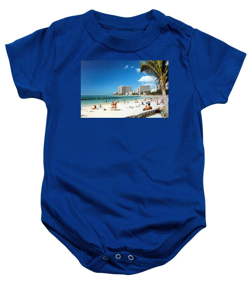 1986 Baby Onesie featuring the photograph Waikiki Beach by Will Borden
