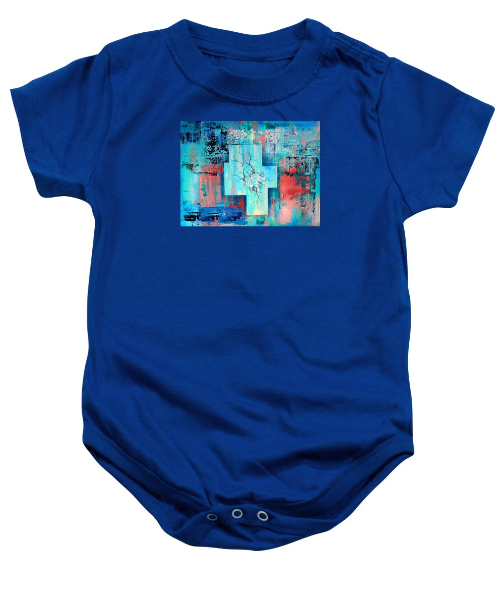 Acrylic Baby Onesie featuring the painting Waiting Place by Jenny Kimble