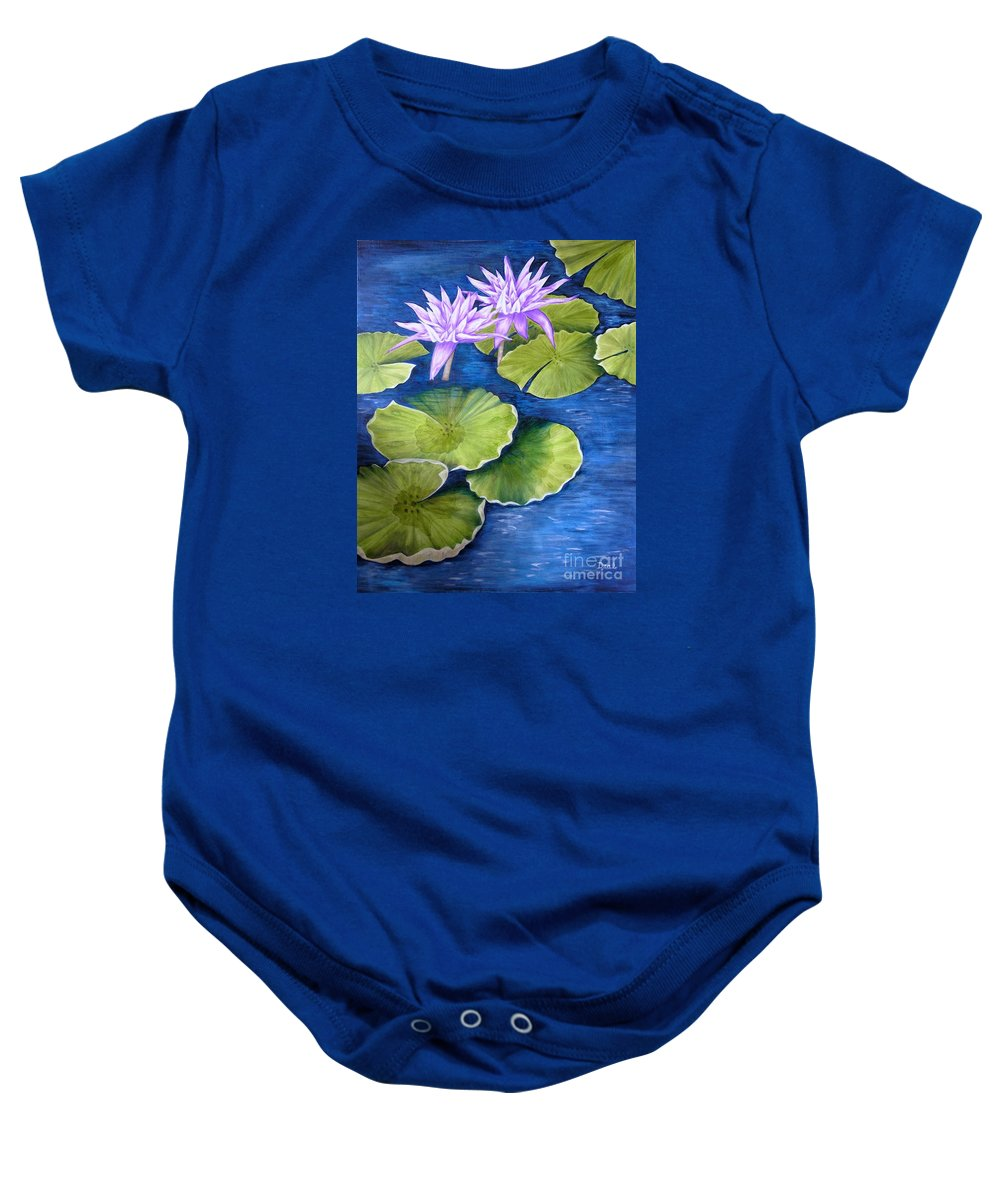 Water Lilies Baby Onesie featuring the painting Water Lilies by Mary Deal