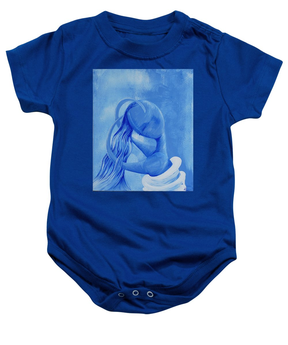 Waterfall Baby Onesie featuring the painting Waterfall Rainbow Soul Collection by Catt Kyriacou