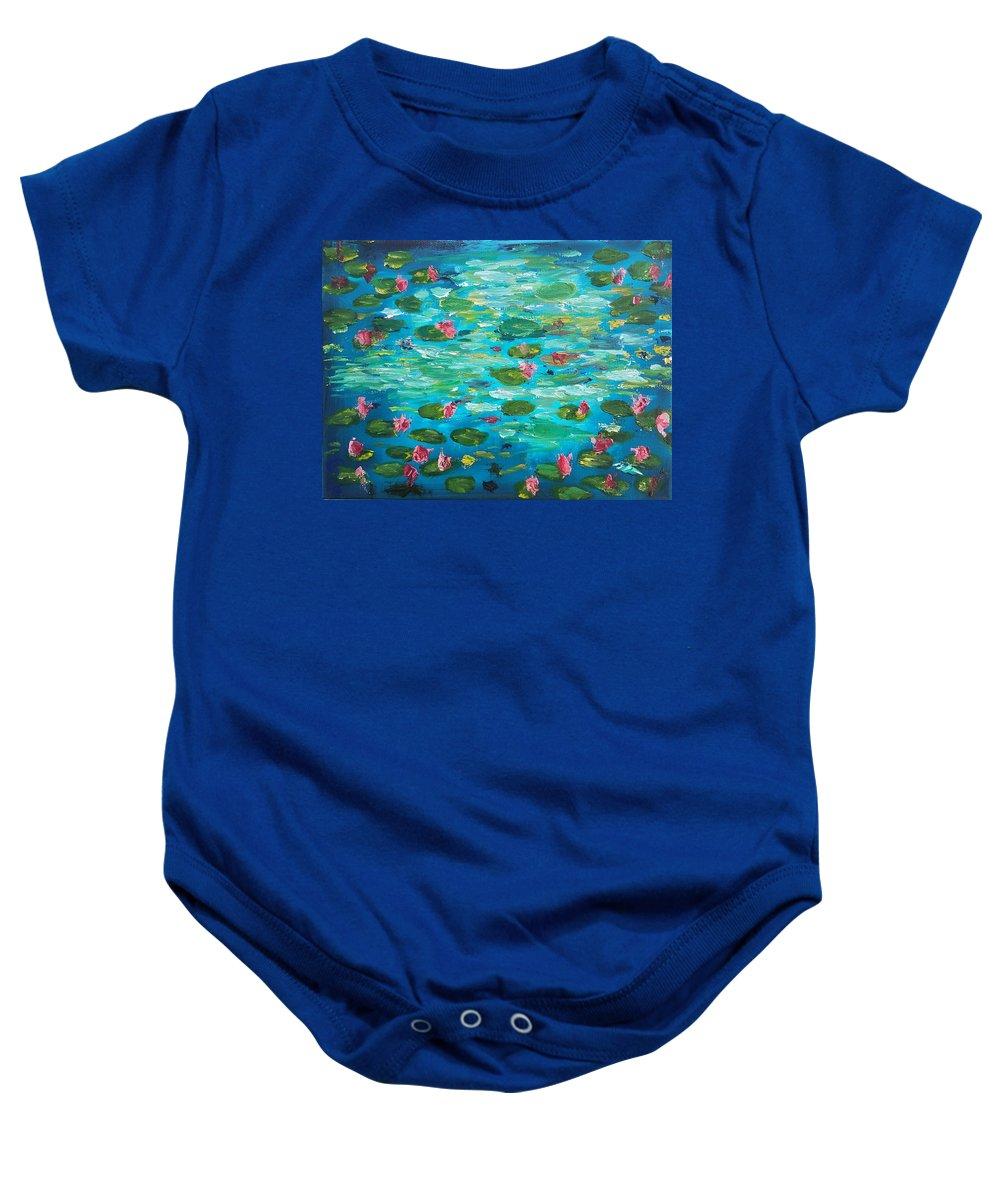 Lillies Baby Onesie featuring the painting Waterlillies by Garth Gerard