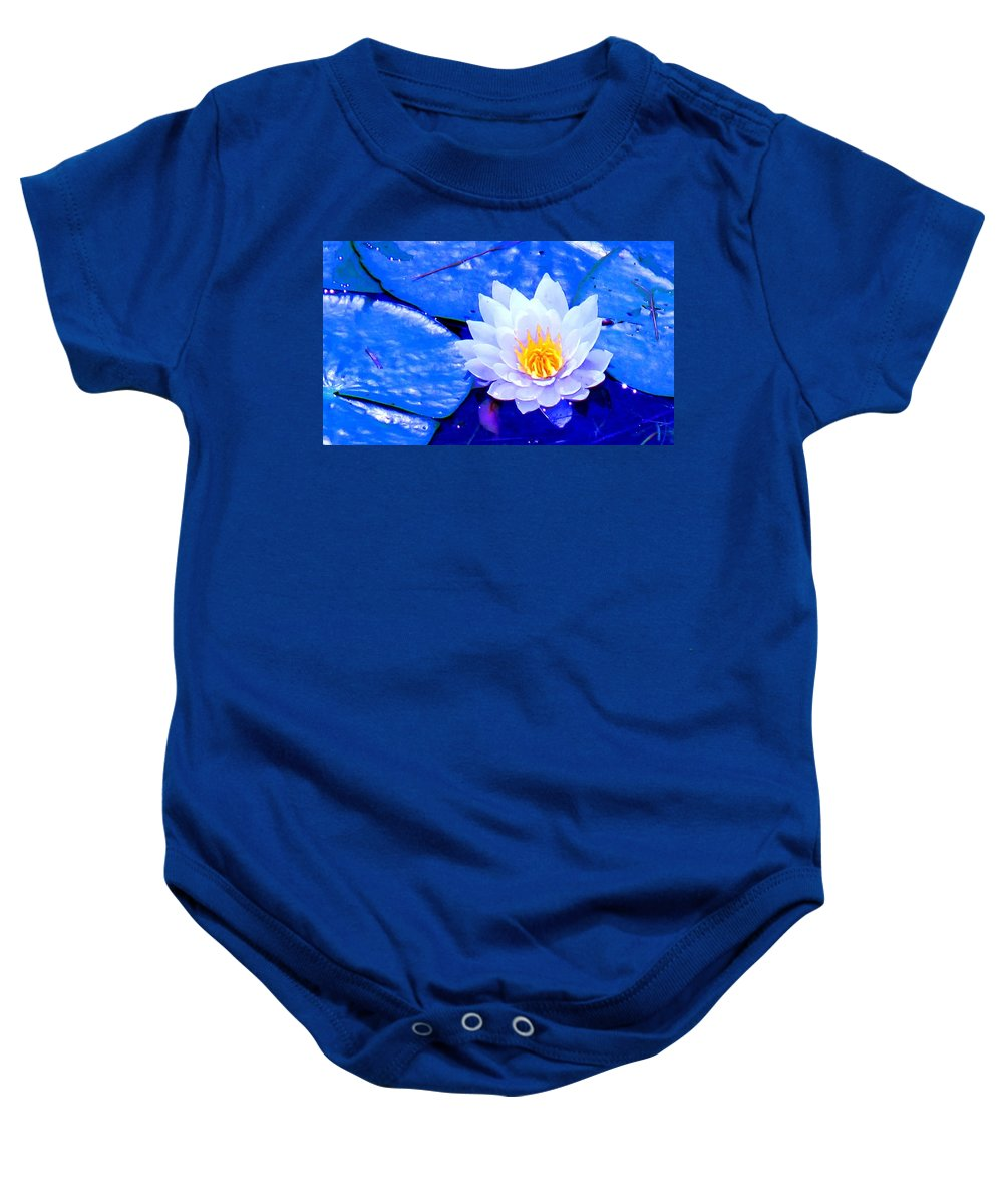 Waterlilly Baby Onesie featuring the photograph Blue Water Lily by Ian MacDonald