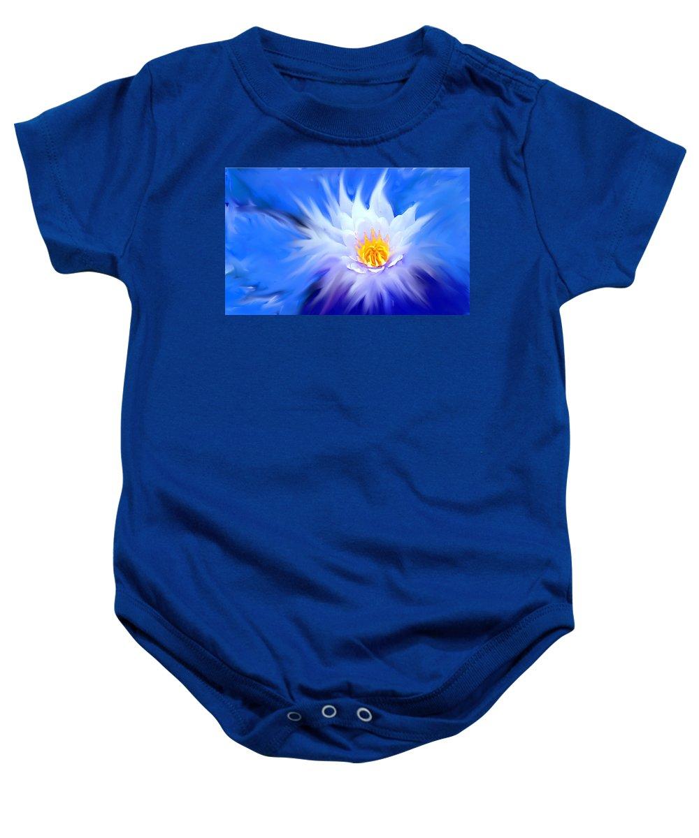 Blue Baby Onesie featuring the digital art Waterlillies Transformed by Ian MacDonald