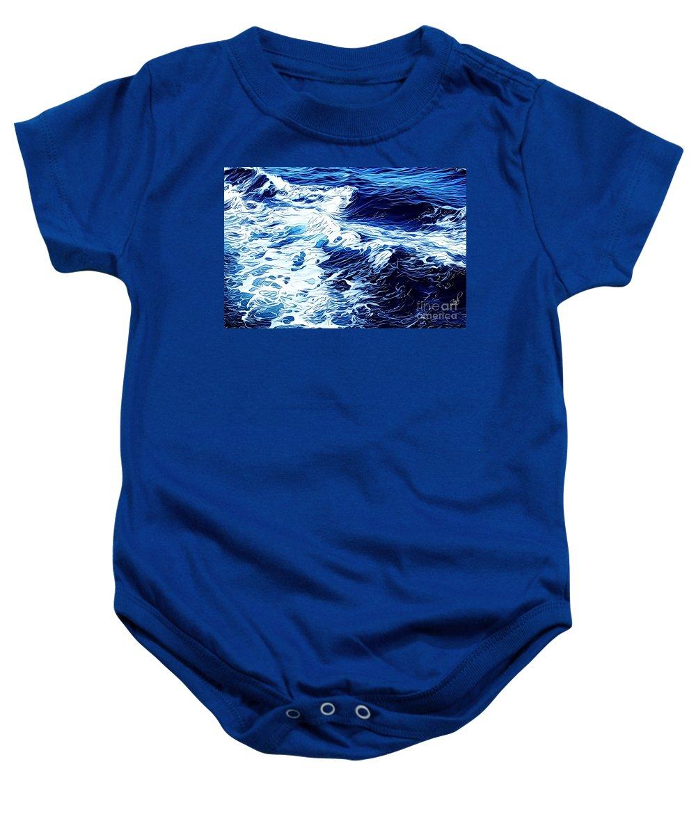 Wave Baby Onesie featuring the digital art Waves by Zedi