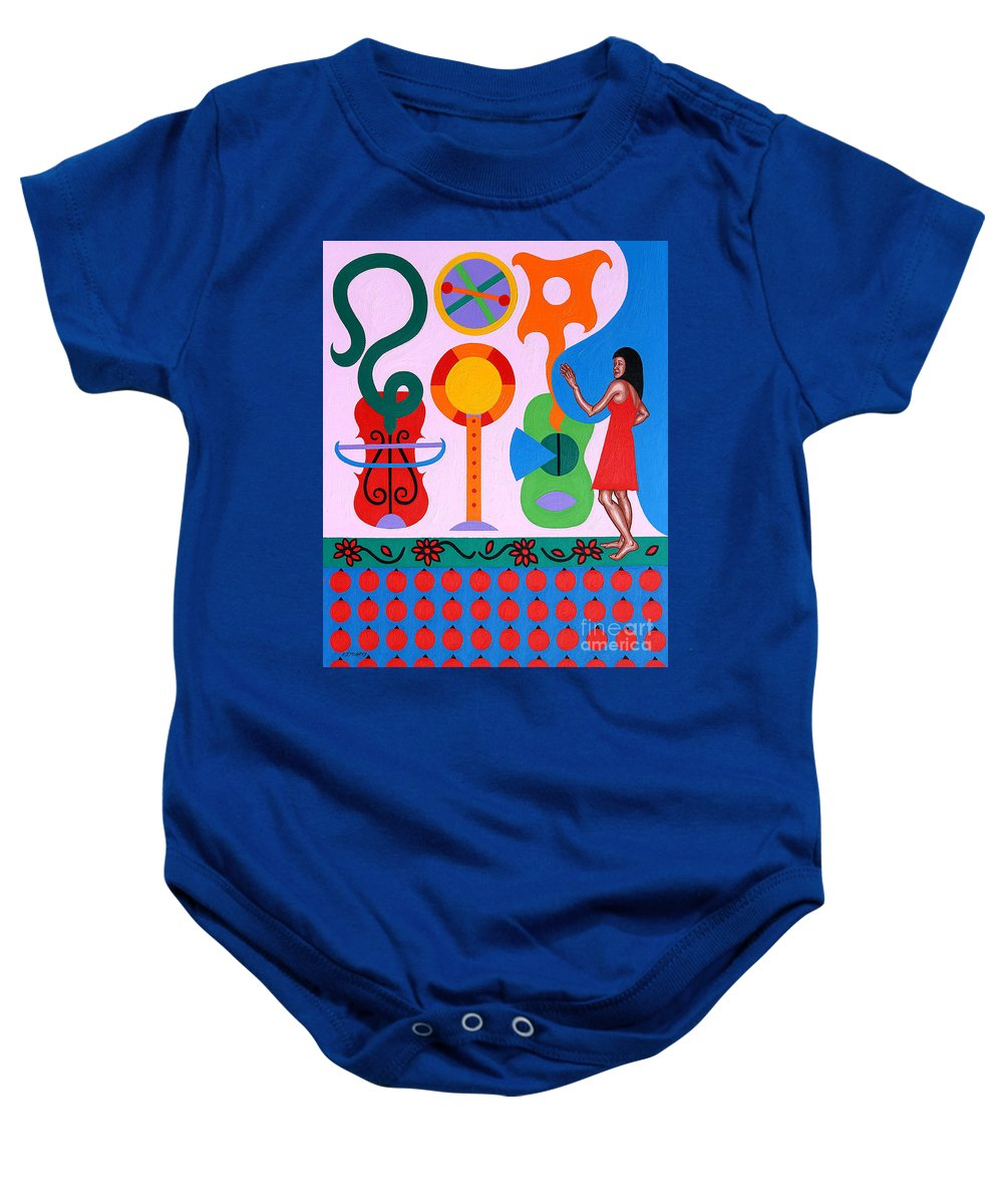 Music Baby Onesie featuring the painting Welcome To The Show by Patrick J Murphy