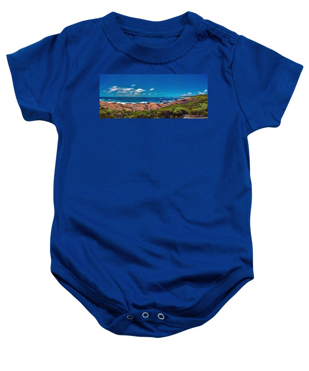 Busselton Jetty; Western Australia; Beach Panorama; Margaret River; Southern Hemisphere; Waterfront; Baby Onesie featuring the photograph Western Australia Beach Panorama Margaret River by David Zanzinger