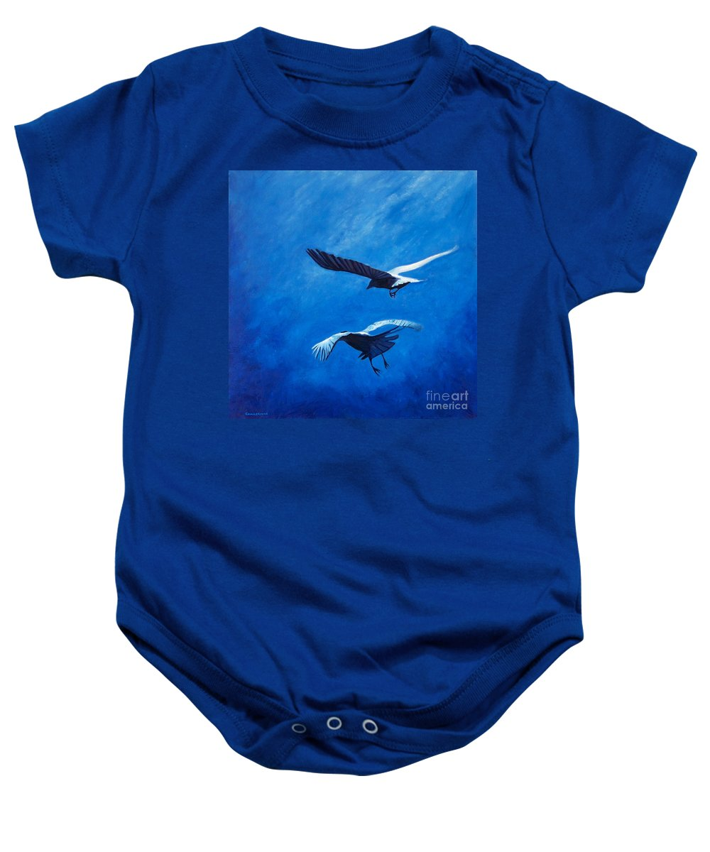 Birds Baby Onesie featuring the painting When The Light Comes by Brian Commerford