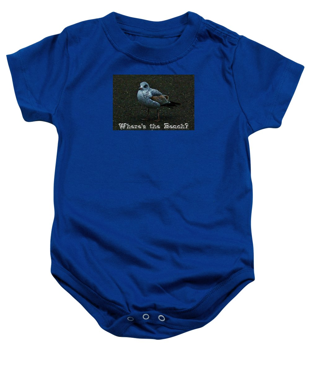 Seagull Beach Baby Onesie featuring the photograph Where's The Beach by Jeanne Perrone