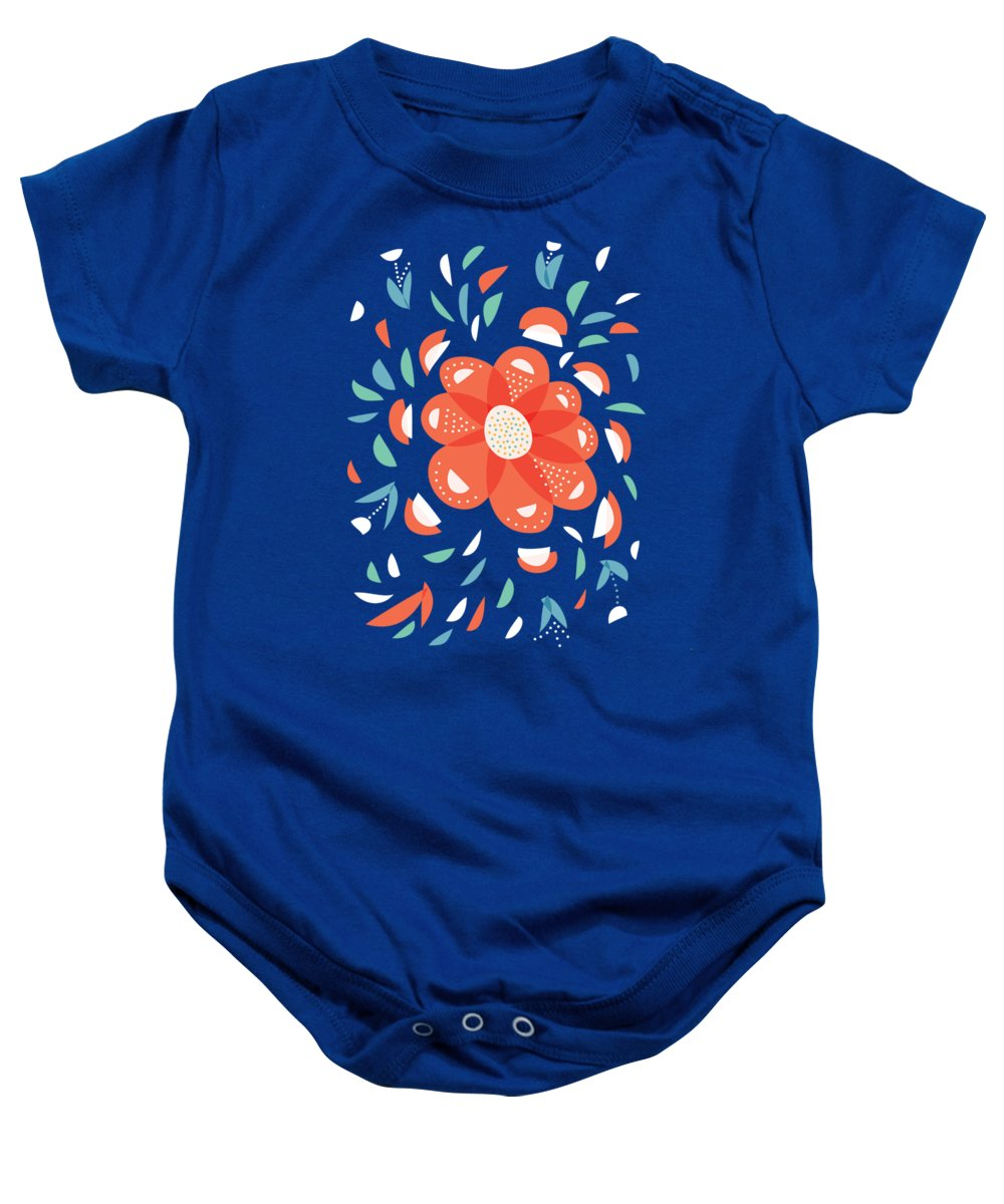 057c1e0fb Floral Baby Onesie featuring the digital art Whimsical Red Flower by Boriana  Giormova