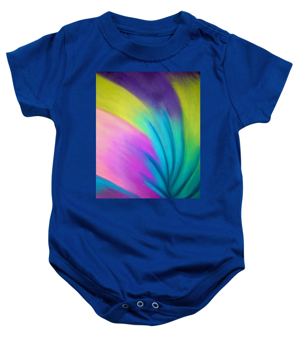 Pastel; Colors; Abstract Drawing Baby Onesie featuring the drawing Whirlwind by Jan Gilmore