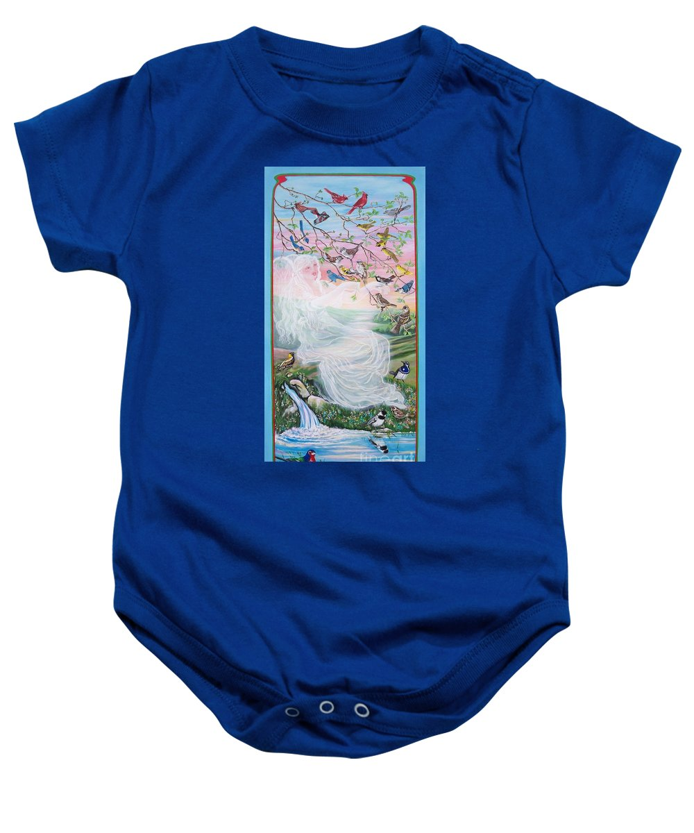 Many Birds Baby Onesie featuring the painting  Whistling Angel-break Of Dawn  by Sigrid Tune