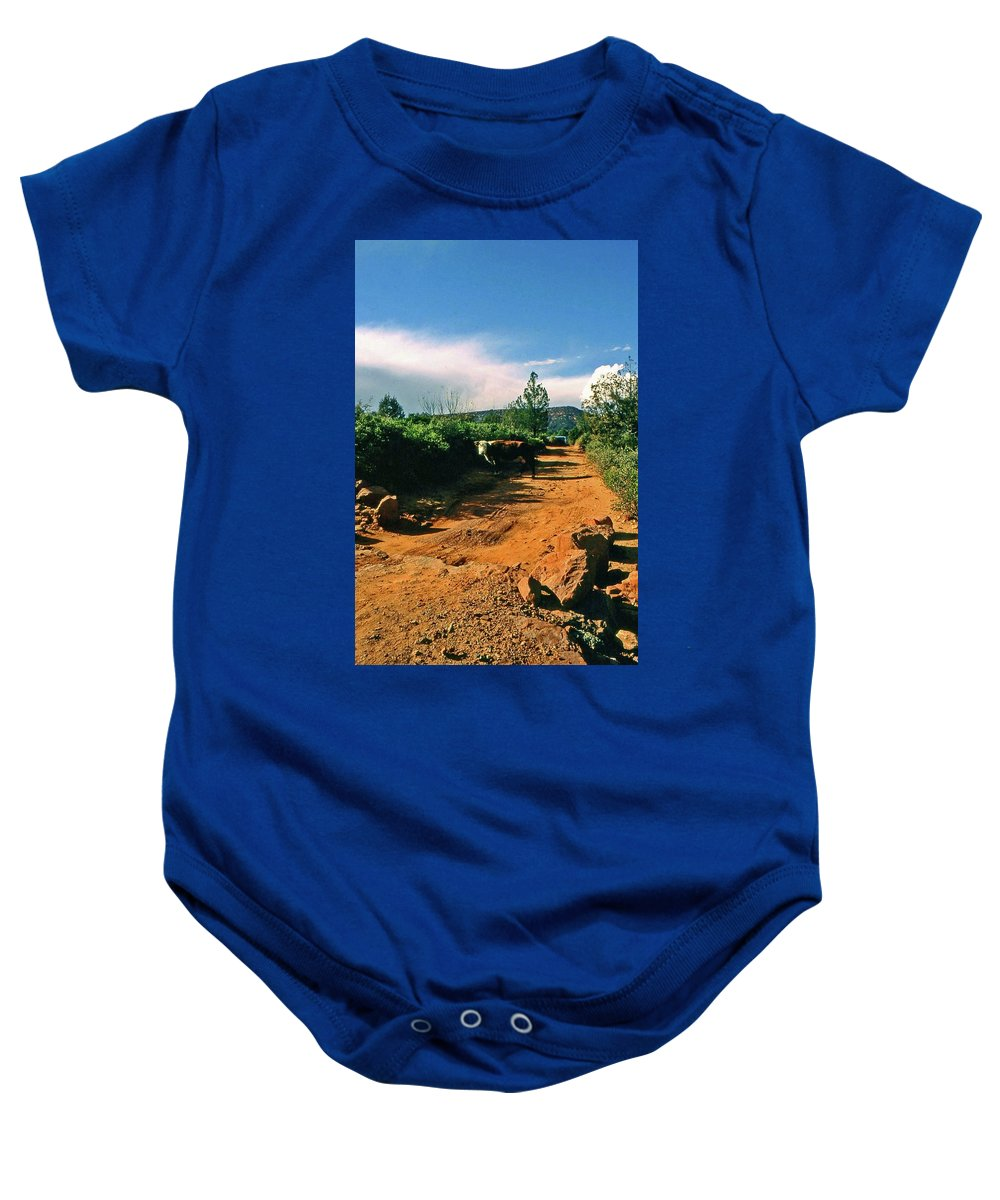 Sedona Baby Onesie featuring the photograph Why You Here by Gary Wonning