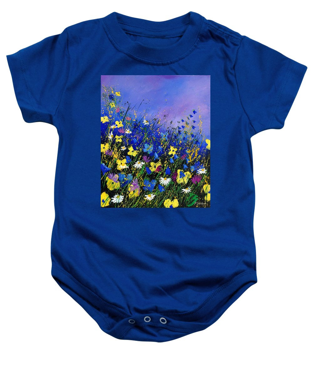 Flowers Baby Onesie featuring the painting Wild flowers 560908 by Pol Ledent