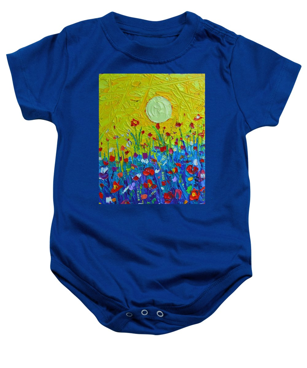 Wildflowers Baby Onesie featuring the painting Wildflowers Meadow Sunrise by Ana Maria Edulescu