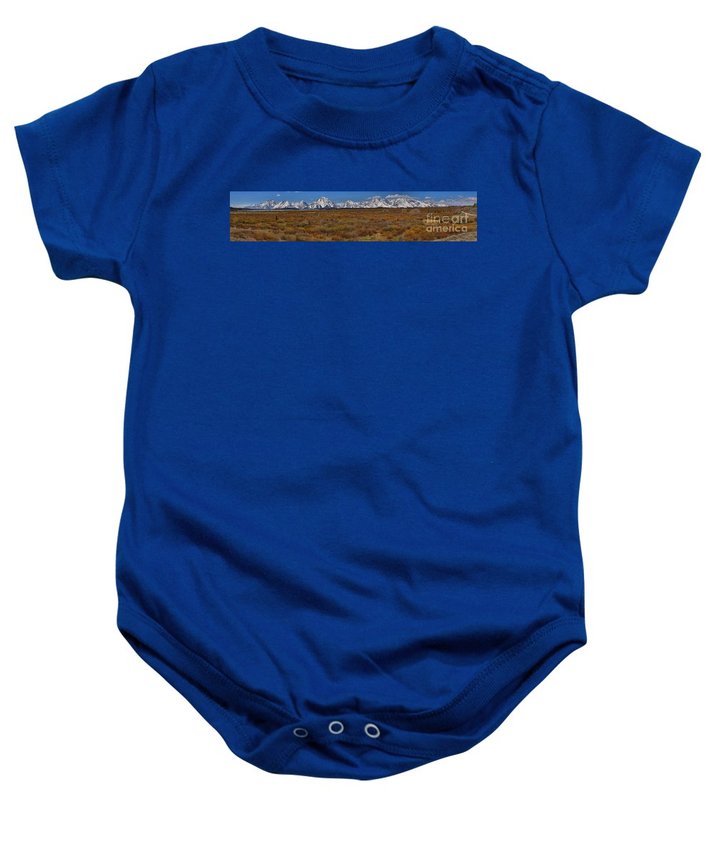 Willow Flats Baby Onesie featuring the photograph Willow Flats At Grand Teton Panorama by Adam Jewell