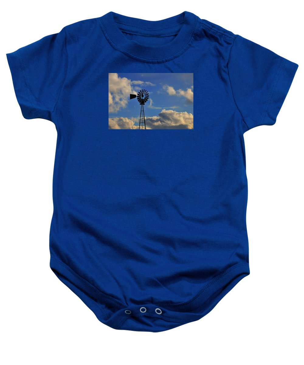 Windmill Baby Onesie featuring the photograph Windmill by David Arment