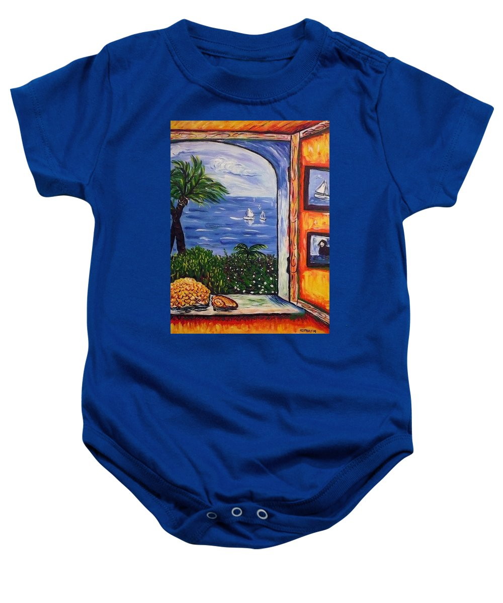 Landscape Baby Onesie featuring the painting Window With Coral by Ericka Herazo