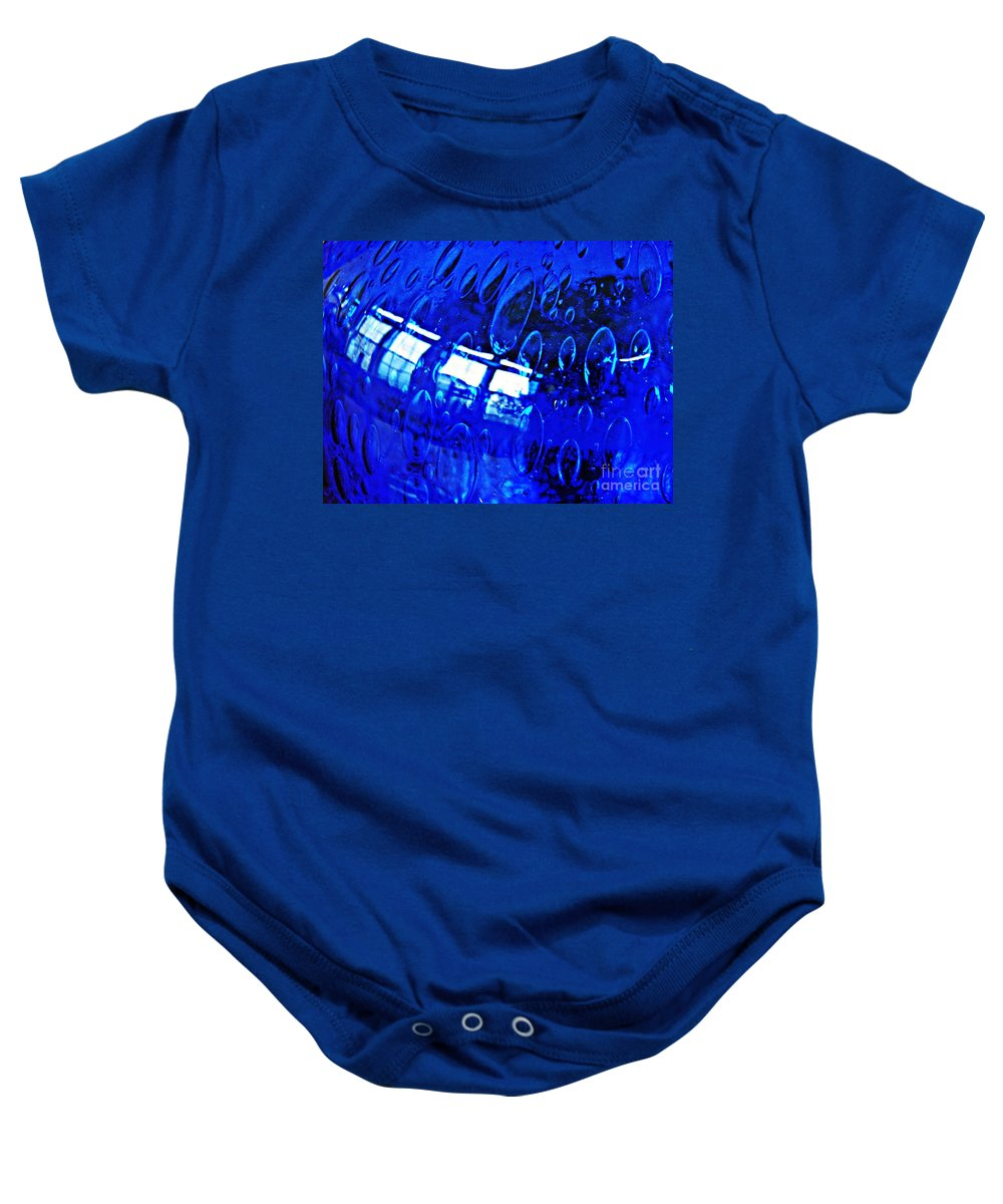 Glass Baby Onesie featuring the photograph Windows Reflected On A Blue Bowl 3 by Sarah Loft