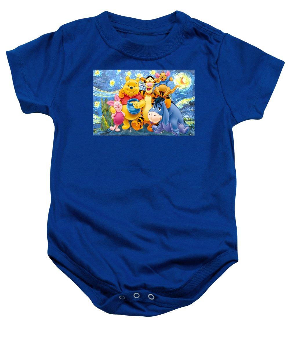 Winnie The Pooh Starry Night Baby Onesie featuring the digital art Winnie the Pooh Starry Night by Midex Planet