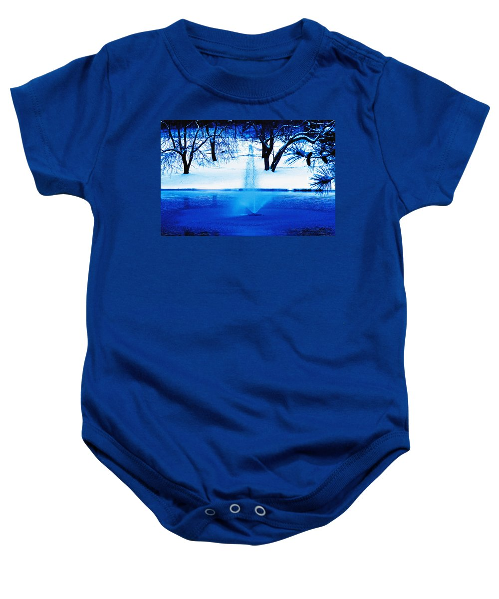 Winter Baby Onesie featuring the photograph Winter Fountain 2 by David Campbell