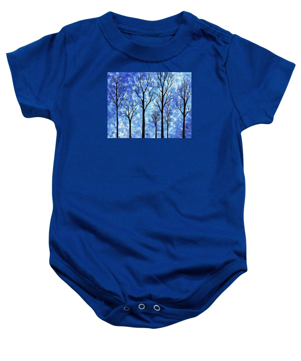Winter In The Woods Baby Onesie featuring the painting Winter In The Woods Abstract by Irina Sztukowski