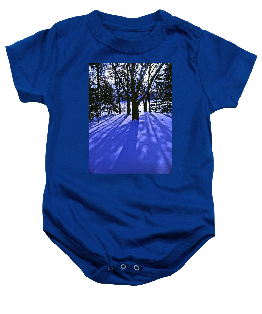 Landscape Baby Onesie featuring the photograph Winter Shadows by Tom Reynen