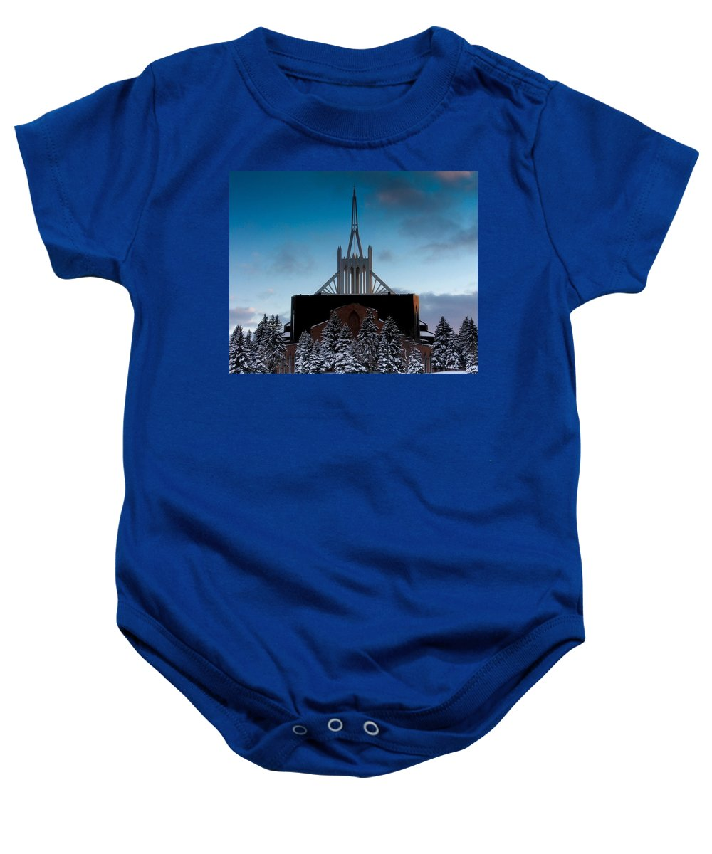 Winter Baby Onesie featuring the photograph Winter's Heavenly Show by Melinda Martin