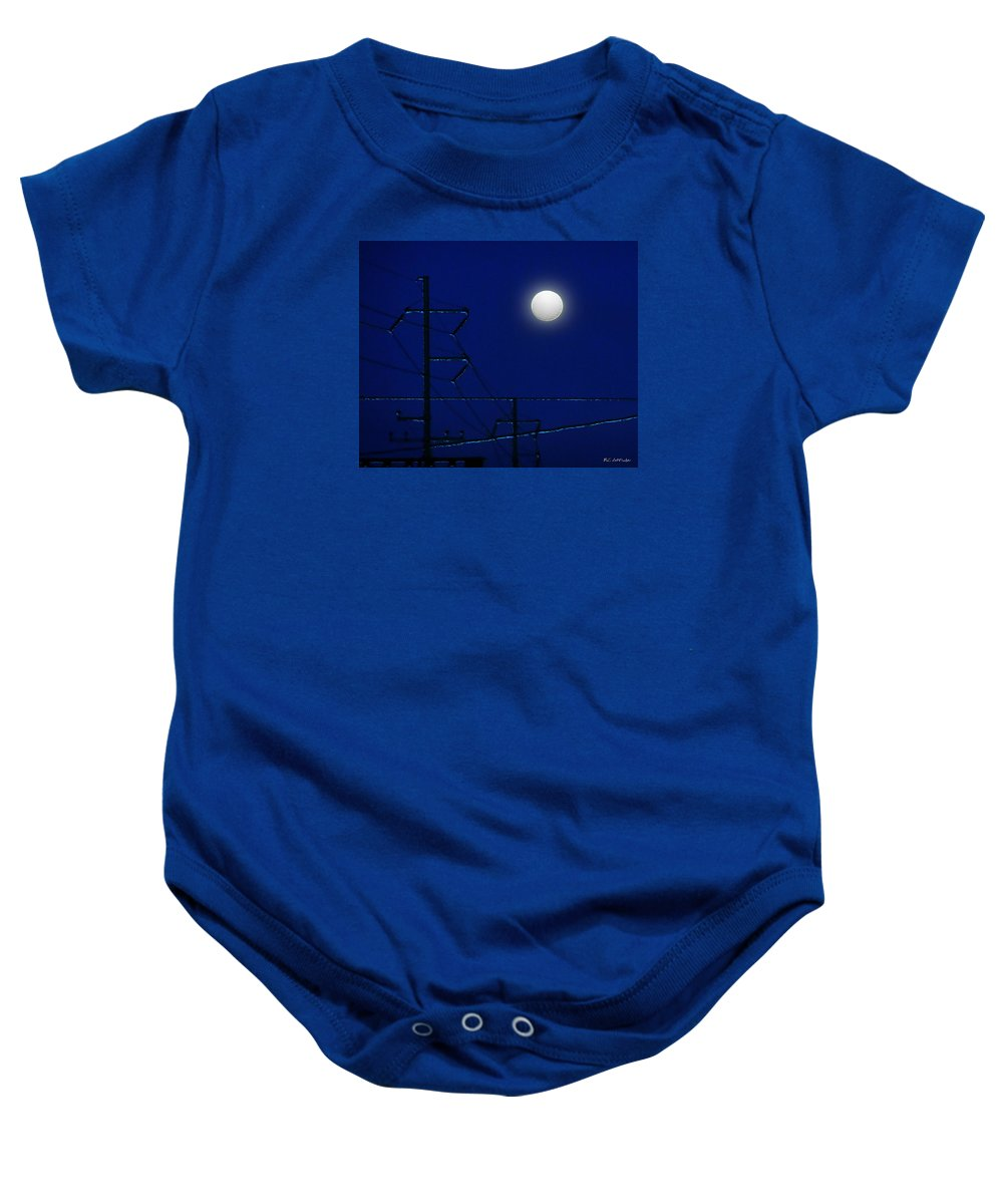 Moon Baby Onesie featuring the painting Wired Moon by RC DeWinter