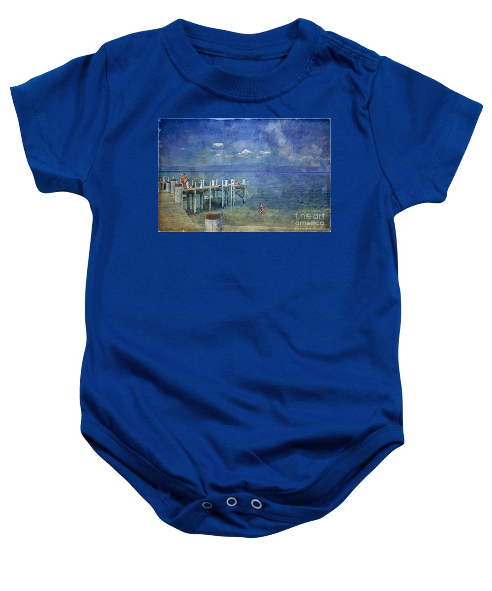 Chambers Landing Lake Tahoe Ca Baby Onesie featuring the photograph Wish You Were Here Chambers Landing Lake Tahoe Ca by David Zanzinger