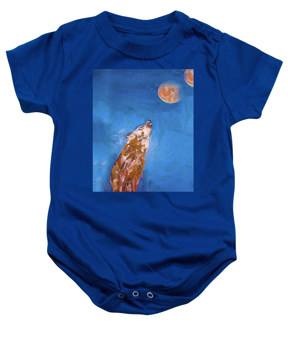 Wolf Baby Onesie featuring the painting Wolf In The Night by Maria Rom